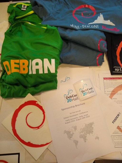 FOSDEM 2020 - Debian booth merchandise